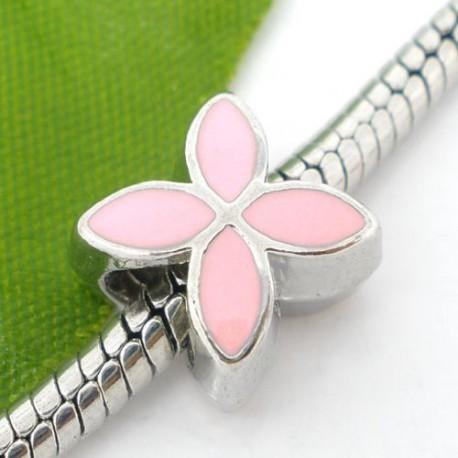 Métal Fleur émail rose style Pandora - à l'unité