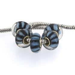 Perle de verre bandes turquoises et noires style Pandora - à l'unité