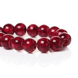 Perle de verre ronde rouge striée noire, 8 mm