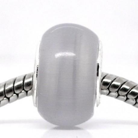 Perle de verre oeil de chat gris style Pandora - à l'unité