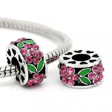 Métal Fleur strass rose et émail vert style Pandora - à l'unité