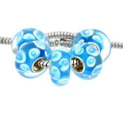 Perle de verre bleu Goutte d'eau style Pandora - à l'unité