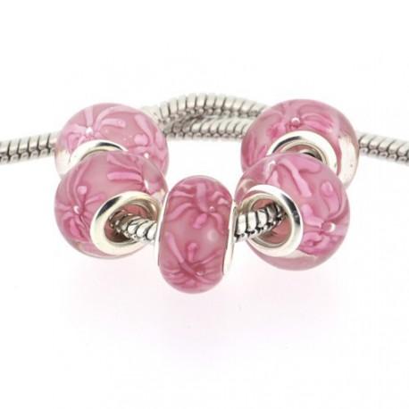 Perle de verre rose bambou style Pandora - à l'unité
