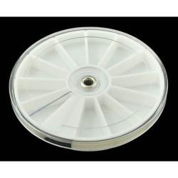 Boîte ronde plastique 12 compartiments, diamètre 8,35 cm