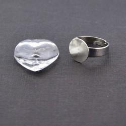 Bague globe en verre - coeur 2 cm