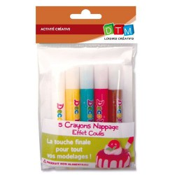 5 Crayons nappage Coulis assortis pour pâte Fimo