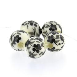 Perle de verre porcelaine imprimée fleurs, 10 mm