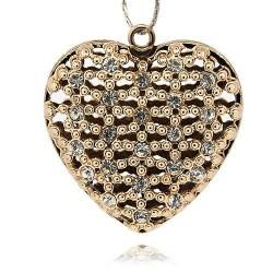 Pendentif breloque Coeur avec strass, doré
