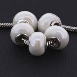 Perle porcelaine vernie Blanche style Pandora - à l'unité
