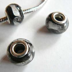 Perle de verre noir/argent style Pandora - à l'unité