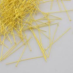 100x Tête à clou doré , 35 mm