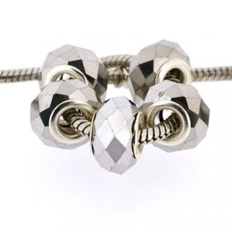 Perle à facettes Argent style Pandora - à l'unit