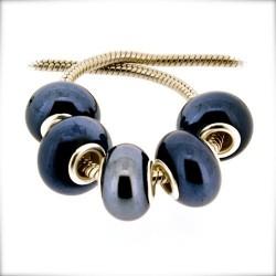 Perle porcelaine vernie Bleu très foncé style Pandora - à l'unité