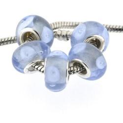 Perle de verre bleue opaque style Pandora - à l'unité