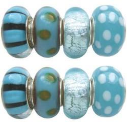 Assortiment Perles turquoises Pandora - 8 pièces