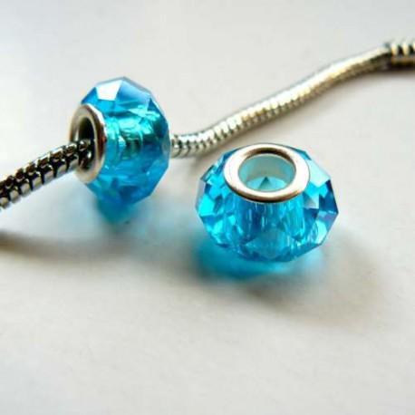 Perle à facettes Turquoises style Pandora - à l'unité