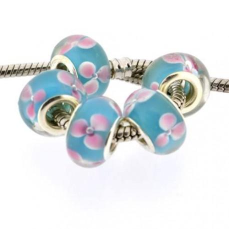 Perle de verre bleue aux roses style Pandora - à l'unité