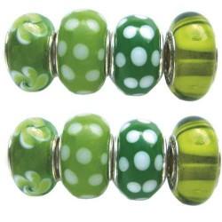 Assortiment Perles vertes Pandora - 8 pièces