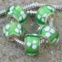Perle de verre verte trèfle blanc style Pandora - à l'unité