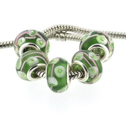 Perle de verre verte fleurs blanches style Pandora - à l'unité