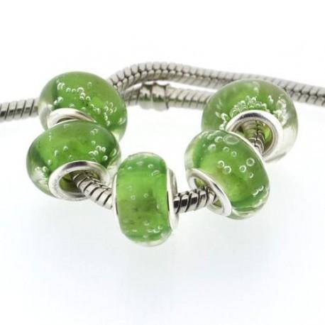Perle de verre verte bulle blanche style Pandora - à l'unité