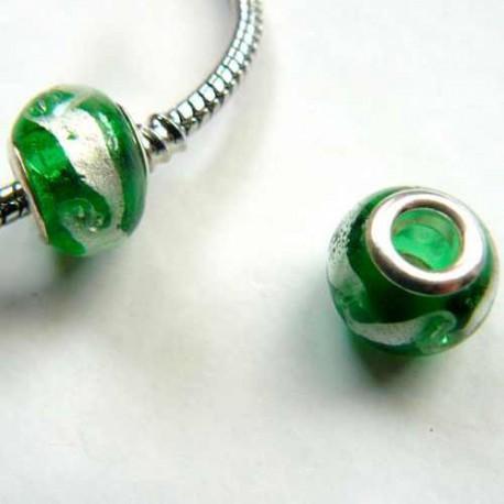 Perle de verre vert/argent style Pandora - à l'unité