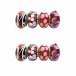 Assortiment Perles rouges Pandora - 8 pièces