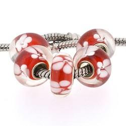Perle de verre rouge fleurs blanches style Pandora - à l'unité