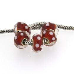 Perle de verre rouge à pois style Pandora - à l'unité