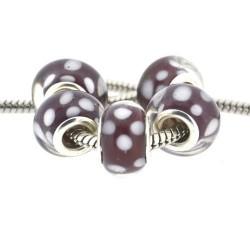 Perle de verre grenat pois blancs opaques style Pandora - à l'unité