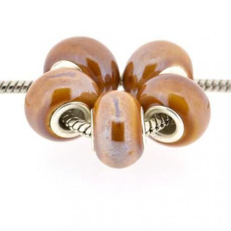 Perle porcelaine vernie marron style Pandora - à l'unité