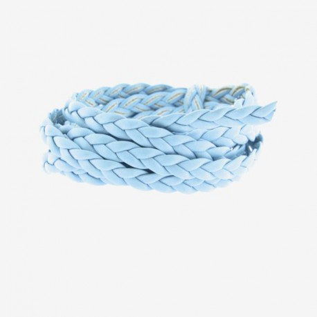 Cordon tressé plat bleu clair