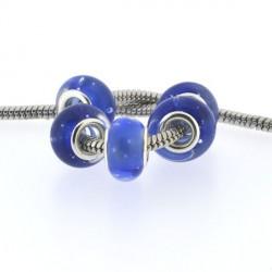 Perle de verre bleu à bulles style Pandora - à l'unité