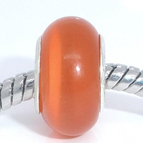Perle de verre oeil de chat orange style Pandora - à l'unité