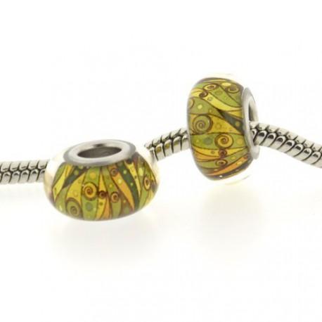 Perle de verre jaune et verte style Pandora - à l'unité