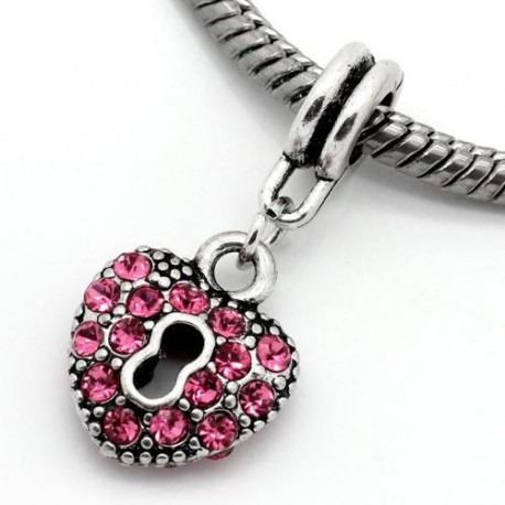 Métal Coeur strass rose style Pandora - à l'unité