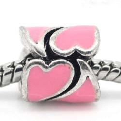 Métal Coeur émail rose style Pandora - à l'unité