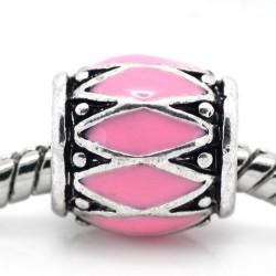 Métal Losange émail rose style Pandora - à l'unité