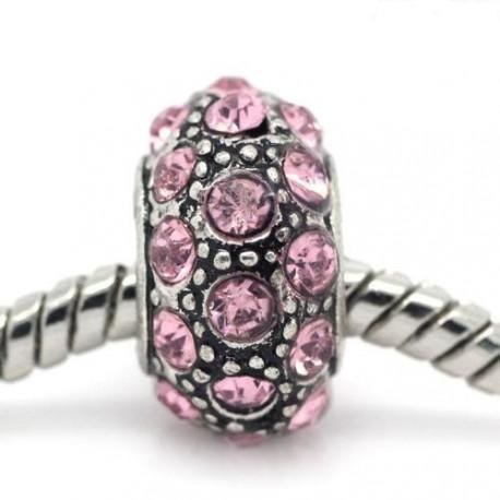 Métal Shamballah strass rose style Pandora - à l'unité