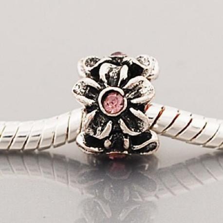 Métal Fleur strass rose style Pandora - à l'unité