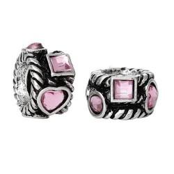 Métal Anneau coeurs et carrés strass rose style Pandora - à l'unité