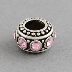 Métal Rondelle strass rose style Pandora - à l'unité