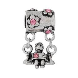 Métal Balançoire strass rose style Pandora - à l'unité