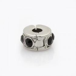 Métal perle bracelet pince strass noir style Pandora - à l'unité