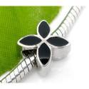 Métal Fleur émail noir style Pandora - à l'unité
