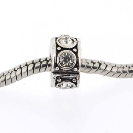 Métal perle bracelet pince strass blanc style Pandora - à l'unité