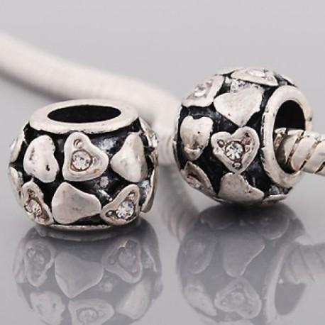 Métal petits coeurs strass blanc style Pandora - à l'unité