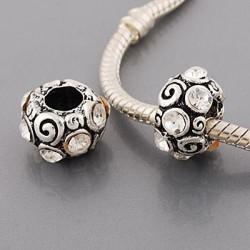 Métal Anneau strass blanc style Pandora - à l'unité