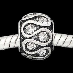 Métal Serpent strass blanc style Pandora - à l'unité