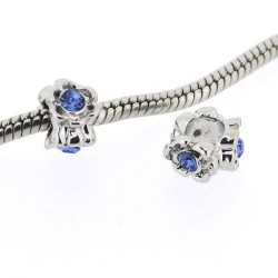 Métal Anneau strass bleu style Pandora - à l'unité
